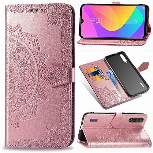 Funda para Xiaomi Mi A3, Xiaomi Mi CC9e Carcasa Libro con Tapa Flip Case Antigolpes Golpes Cartera PU Cuero Suave Soporte con Correa Cordel - Mandala Oro Rosa