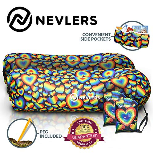 Nevlers Inflatable Lounger with Side Pockets & Matching Travel Bag - 2 Pack - Fun Rainbow Hearts Design - Waterproof & Portable - Great & Easy to Take to The Beach, Park, Pool, as Camping Accessory