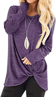 Women's Autumn Basic Long Sleeve Pure Casual Loose Tops Blouse with Side Twist Knotted (12 Colors/S-XXL)