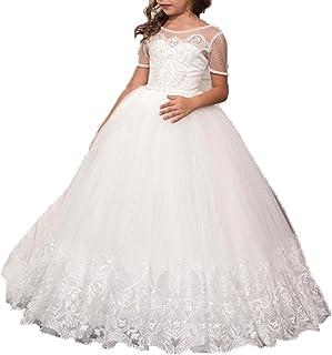 VIPbridal Vestidos de niñas de Flores Blancas con Mangas Cortas Cristales de Cuentas