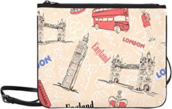 London Bridge Big Ben And Red Bus Pattern Custom High-grade Nylon Slim Clutch Bag Cross-body Bag Shoulder Bag