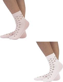 2 PARES Calcetines para Niñas | Calcetines Micofibra | Calcetines con Flores | Calcetines Calados | Blanco y Rosa | Talla Unica |100% Made in Italy | (Blanco+Rosa, Unica)