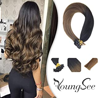 Youngsee 14inches Hot Fusion Hair Extensins U Tip Real Hair Ombre Natural Black to Medium Brown Silky Straight Pre Bonded Keratin U Tip Remy Hair Extensions 50g