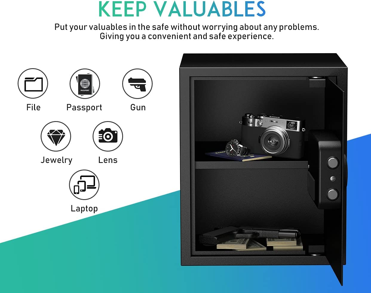 RPNB Deluxe Safe and Lock Box,Money Box,Digital Keypad Safe Box,Steel Alloy Drop Safe, Keypad Lock,Perfect for Home Office Hotel Business Jewelry Gun Cash Use Storage,1.52 Cubic Feet - -