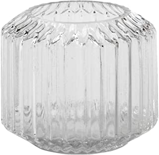 Biedermann & Sons Decorative Glass Hurricane Candle Holder, Large, Fluted