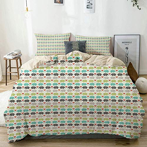 Duvet Cover Set Beige,Baby Elephants Love Adornment Print,Decorative 3 Piece Bedding Set with 2 Pillow Shams