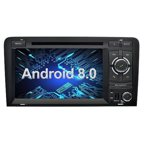 Ohok Android 8.0 Autoradio 2 Din pour Audi A3 2003-2013 Oreo Octa Core Stéréo RAM 4G ROM 32G Sat Nav avec Lecteur DVD Supporte GPS Bluetooth WLAN Dab+ OBD2 SWC USB Phone Link,7 Pouces Écran Tactile