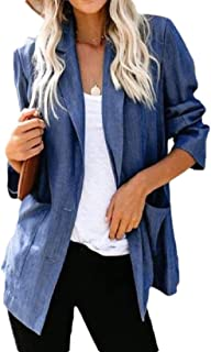 neveraway Women 2 Button Pocket Solid Notch Lapel Patch Lounge Blazer Jacket Coat