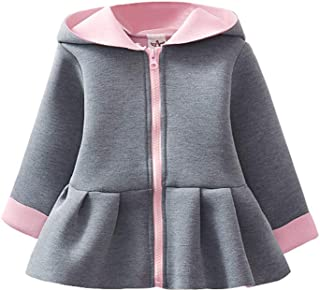 Xifamniy Infant Girls Dress Coat Long Sleeve Solid Color Cotton Cute Hooded Jacket