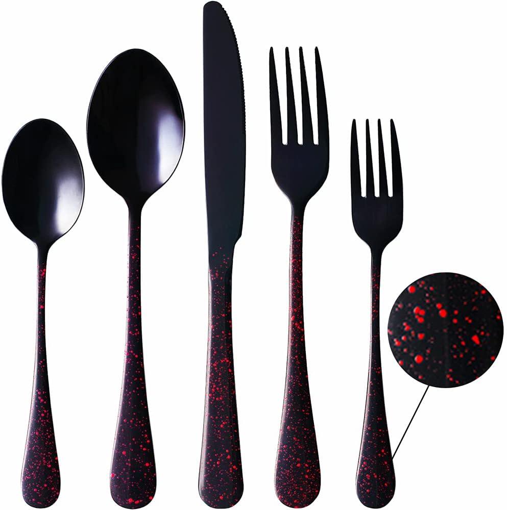 5 Baltimore Mall ☆ popular ZOKILE Black Silverware Set with Red Splatter Flatware 20-Piece