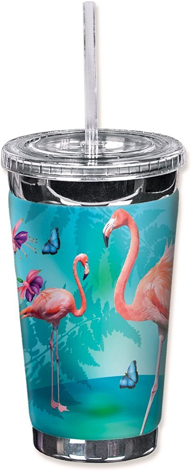 Mugzie 724-TGC  Flamingo's & Butterflies  To Go Tumbler with Insulated Wetsuit Cover, 16 oz, noir by Mugzie