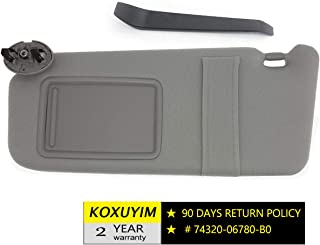 koxuyim # 74320-06780-B0/74320-33B81-B0 Fit Toyota Camry - Gray, Sun Visor Mirror Left Driver Side Replacement Part for 07-11 Toyota Camry(NO Sunroof) Without Light