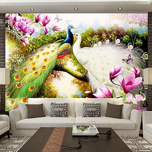 Fotobehang Getekende bloemen 3D en vogelpauw, 300 x 210 cm, vliesbehang, wanddecoratie, design, wandbehang, wanddecoratie voor woonkamer, slaapkamer, tv-achtergrond