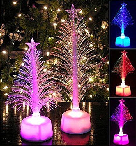 Christmas Tree LED Fiber Optic Night Light, Mini Christmas Tree, LED Color Changing Xmas Tree Tabletop Christmas Tree With LED Lights Christmas Night Light, For Christmas Decoration