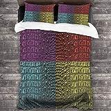 SXCVD 3 Piezas Juego Funda De Diseño Personalizado,Piel de cocodrilo Color Art 4,Ropa de Cama Set 1 Edredón 2 Fundas de Almohada Microfibra jueg(220 * 260cm)