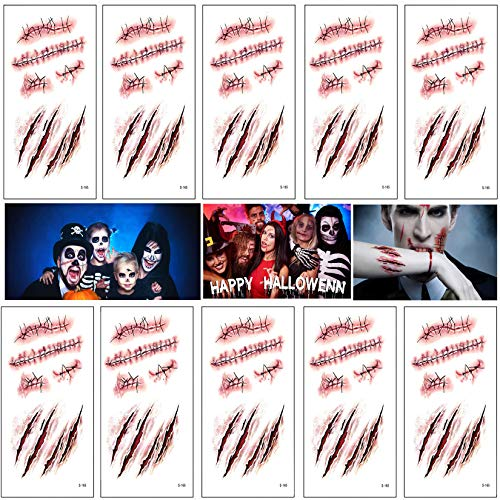 Halloween Scar Temporary Tattoos, Bezall 10 Sheets Realistic Fake Face Blood Wound Stitch Tattoo Sticker Waterproof Zombie Makeup Prank Props