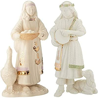 Lenox 879302 First Blessing Nativity Goose and Girl and 879301 First Blessing Nativity Drummer Boy Figurine