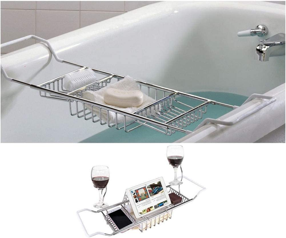 Super sale Stainless Steel Bathtub Holder Tray Bath R Don't miss the campaign Caddy Sides Extending