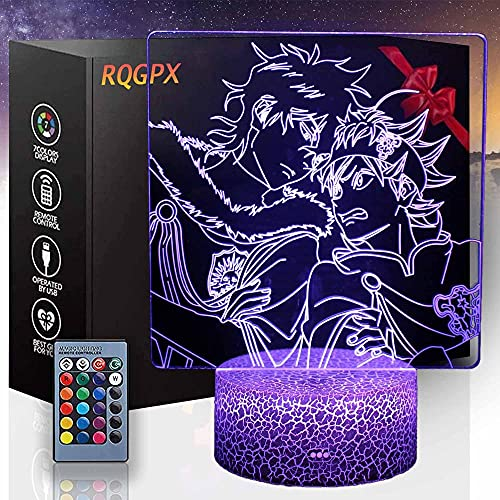 3D Anime I luz nocturna, lámpara de ilusión 3D con 16 colores intermitente y interruptor táctil USB Powered dormitorio lámpara de escritorio para niños regalos decoración del hogar