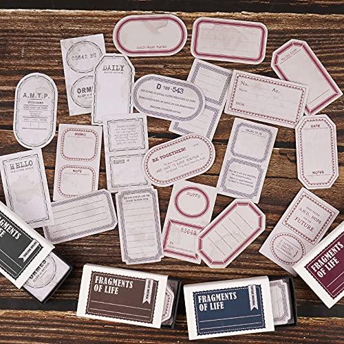 BETESSIN 200pcs Tarjetas Vintaje Etiquetas para Mensaje Nota Tarjetas Personalizadas Papel Label para Scrapbooking Decoración Regalos Creación Álbum DIY Cuadernos Diarios