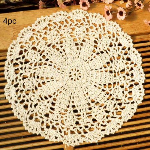 Kilofly Crochet en dentelle de coton napperons de table Value Pack, 4PC, Persia, Coton, beige, 10 inch beige