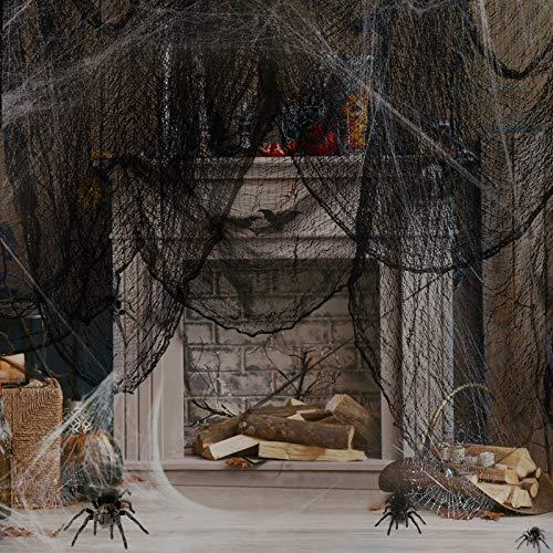laxikoo Halloween Deko Stoff Dekostoff Tuch Decke 2pcs Halloweenstoff schwarz Spukhäuser Hallowmas Party Supplies Gruseliges Käsetuch Baumwoll Musselin Tücher für Window Tisch Türen Prop(300 X 76cm)