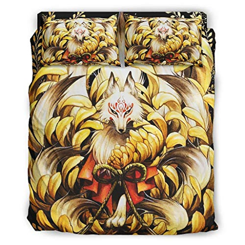 Wandlovers 4 Stück Bettbezug Set Japanisch Kitsune Neun Schwänze Fuchsblüte Druck Leicht Bettdecken Set Bettbezug Flachbetttuch Kissenbezüge Komfortgröße White 240x264cm