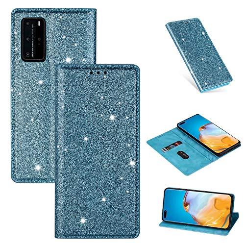Nadoli Glitzer Wallet Hülle für Huawei P40 Pro,Bling Schutzhülle Leder Flip Case Lederhülle mit Kartenfach Standfunktion Klappbar Magnetisch Etui