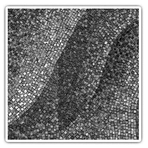 Impresionantes pegatinas cuadradas (juego de 2) 10 cm BW – azulejos de cerámica viejos azulejos divertidos adhesivos para portátiles, tabletas, equipaje, reserva de chatarras, neveras, regalo fresco #39323