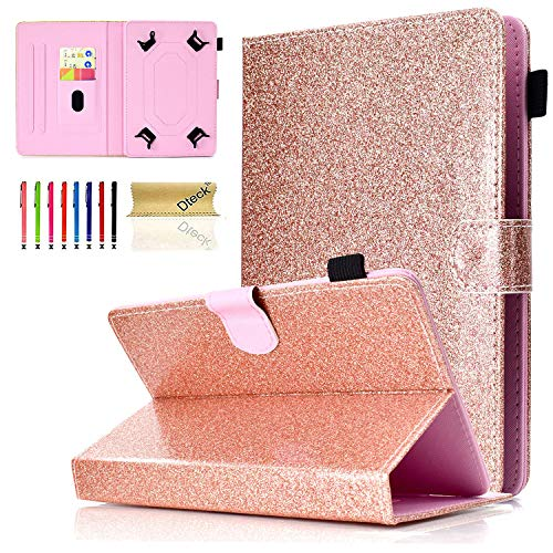 Universal 8.0 inch Tablet Case, Dteck Glitter Stand Folio Flip Wallet Case for All 7.5-8.5 inch iPad Mini 1 2 3 4, Galaxy Tab A 8.0/Tab E 8.0, Amazon Fire HD 8.0 inch Tablet, Rosegold