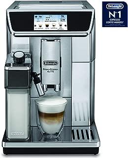 Delonghi super-automatic espresso coffee machine with double boiler, milk frother, chocolate maker for brewing espresso, cappuccino, latte, macchiato & hot chocolate. ECAM65085MS PrimaDonna Elite
