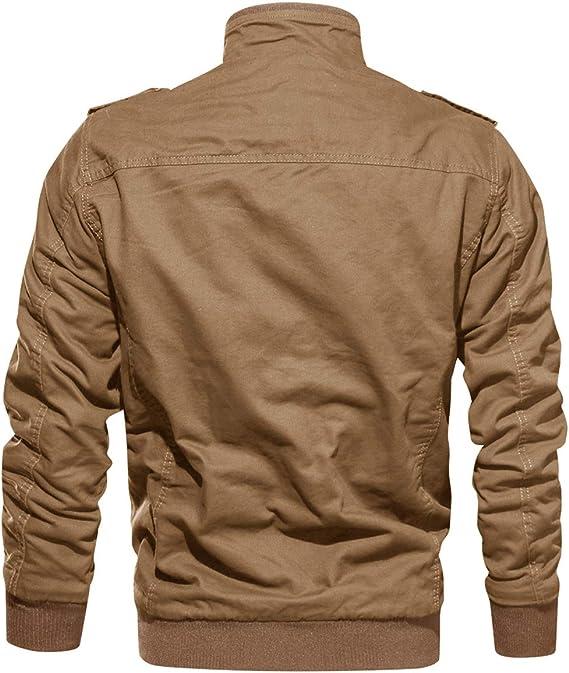 KEFITEVD Chaqueta de entretiempo con forro polar para hombre, cálida para otoño e invierno, con muchos bolsillos, estilo retro, con cuello alzado