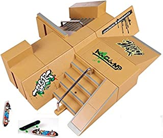 Kidsdream 8pcs Skate Park Kit Ramp Parts for Fingerboard Mini Finger Skateboard Fingerboards Ultimate Parks with 3PCS Finger Boards