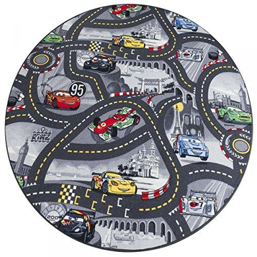 havatex Kinderteppich Cars rund - Farben: Rot, Blau, Grau | Spielteppich schadstoffgeprüft pflegeleicht strapazierfähig | Kinderzimmer Spielzimmer Autos, Farbe:Grau, Größe:133 cm rund