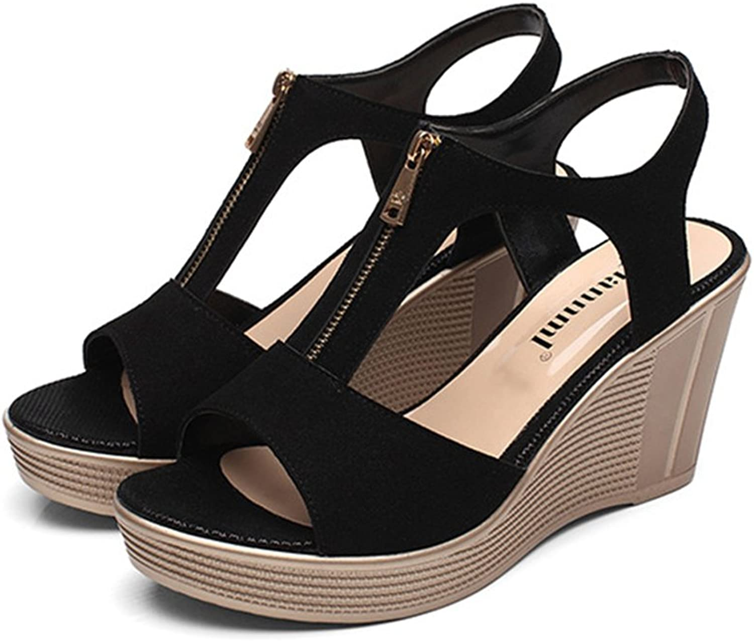 Tuoup Womens Leather Zipper Summer Wedge Sandals Sandles