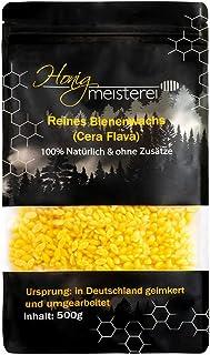 Honigmeisterei Bienenwachs Pastillen aus Deutschland - 100% reines Bienenwachs ohne Zusatzstoffe - Natürliches Wachs für Kosmetik, Creme, Seife, Kerzen, Holz- & Lederpflege - 500g Granulat, Gelb