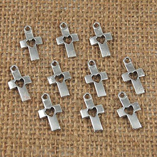 Generic 20 colgantes de plata tibetana con forma de corazón y cruz para crear joyas artesanales.