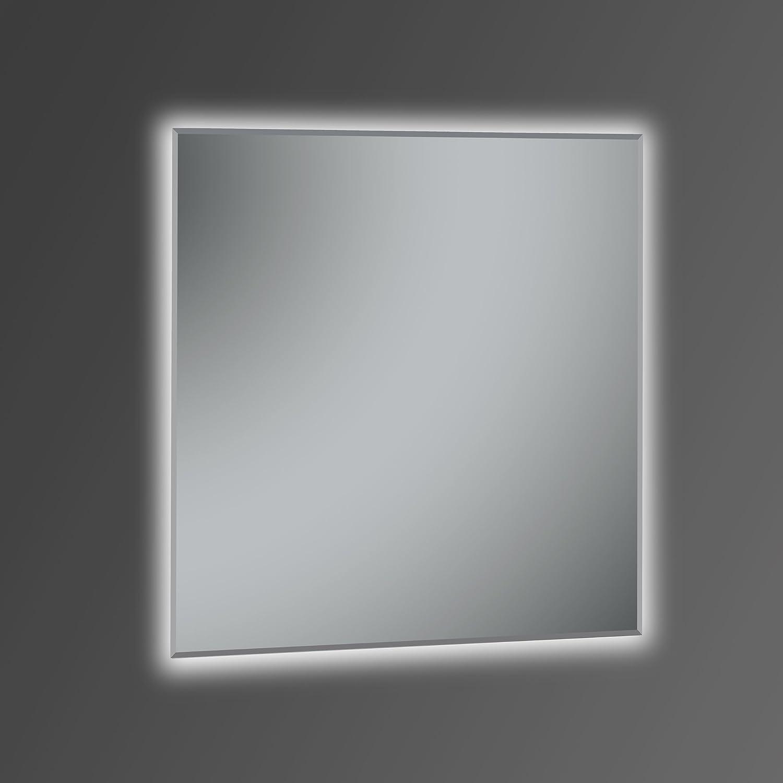 Kristaled Khan 80x80 cm Espejo de Baño con Retroiluminación Led, Cristal, Plateado, 80x80x2.5 cm