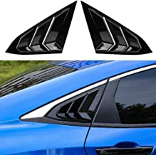 Thenice for 10th Gen Civic Racing Style Rear Side Window Louvers Air Vent Scoop Shades Cover Blinds for 2016 2017 2018 2019 2020 Honda Civic Sedan -Black