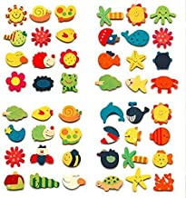 CraftDev Wooden Nature Theme Magnets - Set of 40, Multicolour