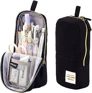 iSuperb Stand Up Pencil Case Canvas Pencil Holder Phone Holder Mobile Phone Bracket Function Desk Organizer Makeup Cosmeti...
