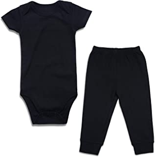SOBOWO 2-Piece Unisex Baby Bodysuit and Pants Outfits Set for Newborn Boys Girls 0-24 Months