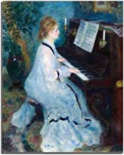 Baocicco 16x20 Inches A Young Woman Playing The Piano Renoir Canvas Wall Art Painting Canvas Print Picture for Living Room Bedroom Tea Room Kitchen Hotel Housewarming Party Decor Unframed Wall Poster