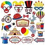 Dusenly Circo Carnaval Party Photo Cabooth Props 27pcs Divertido Kit DIY Kit de Payaso Fiesta...