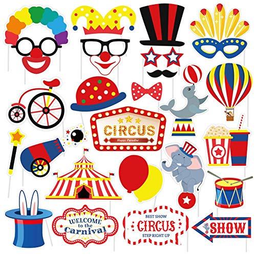 Dusenly Circo Carnaval Party Photo Cabooth Props 27pcs Divertido Kit DIY Kit de Payaso Fiesta Accesorios para Cumpleaños Solteros Boda Fiesta Decoración Suministros