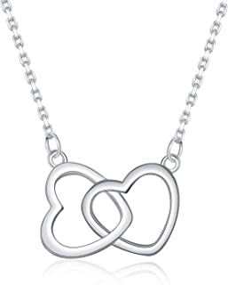 925 Sterling Silver Double Heart Pendant Necklaces-Minimalist Delicate Infinity Love Heart Pendant for Women Girls