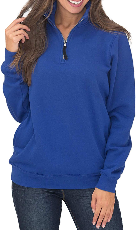 Samefar Womens Warm Cozy High Neck Long Sleeve Solid 1/4 Zip Pullover Sweatshirts with Pockets