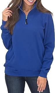 Diukia Women's Long Sleeves Collar Quarter 1/4 Zip Solid Hoodies Fleece Pullover Sweatshirts with Pockets(S-2XL)