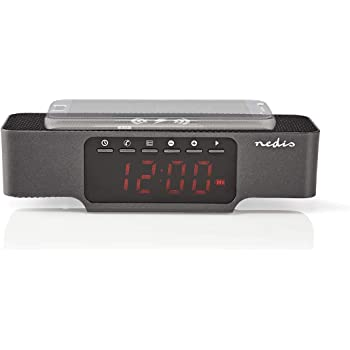 NEDIS CLAR007BK Radiosveglia Digitale Bluetooth Ricarica Wireless per Il Telefono FM