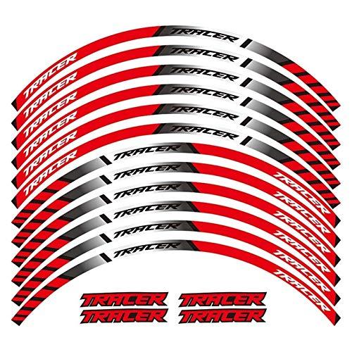 XIAOZHIWEN EIN Satz von 12 stücke Motorrad-Rad Abziehbilder wasserdicht reflektierende Aufkleber Rim-Streifen für Yamaha Tracer 700 900 850 Universal (Color : Red)